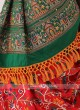 Silk Saree In Red And Green