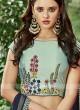 Dark Turquoise Layered Lehenga Choli