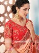 Peach Saree with Embroidered Border