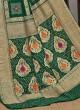 Gharchola Style Dark Green Color Banarasi Silk Saree