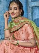 Light Pink Lehenga Set with Parrot Green Dupatta
