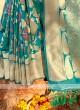 Teal Blue Color Classic Saree