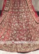 bridal velvet lehenga choli in red