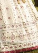 Chiffon Pink and Off-White Lehenga Choli