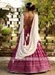Chiffon Lehenga Choli In Rani and Off-White