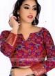 Dark Blue and Pink Banarasi Silk Saree