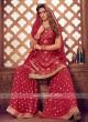 Wonderful Red Color Gharara Suit
