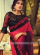 Chiffon Silk Red And Wine Shaded Saree