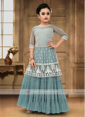 Firozi Color Girls Palazzo Suit
