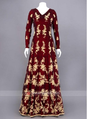 A Line Embroidered V Neck Indo Western Gown