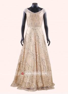 A Line Golden Cream Gown