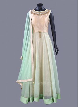 A Line Long Anarkali Dress with Embellished Neckline