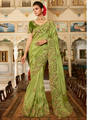 Absorbing Fancy Fabric Green Embroidered Traditional Designer Saree