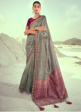 Absorbing Weaving Grey Designer Traditional Saree
