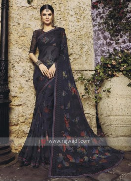 Adorable Chiffon Brasso Saree In Black`