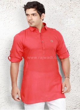Adorable Linen fabric Crimson Kurta