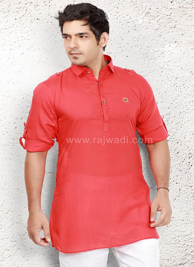 Adorable Linen fabric Crimson Kurta