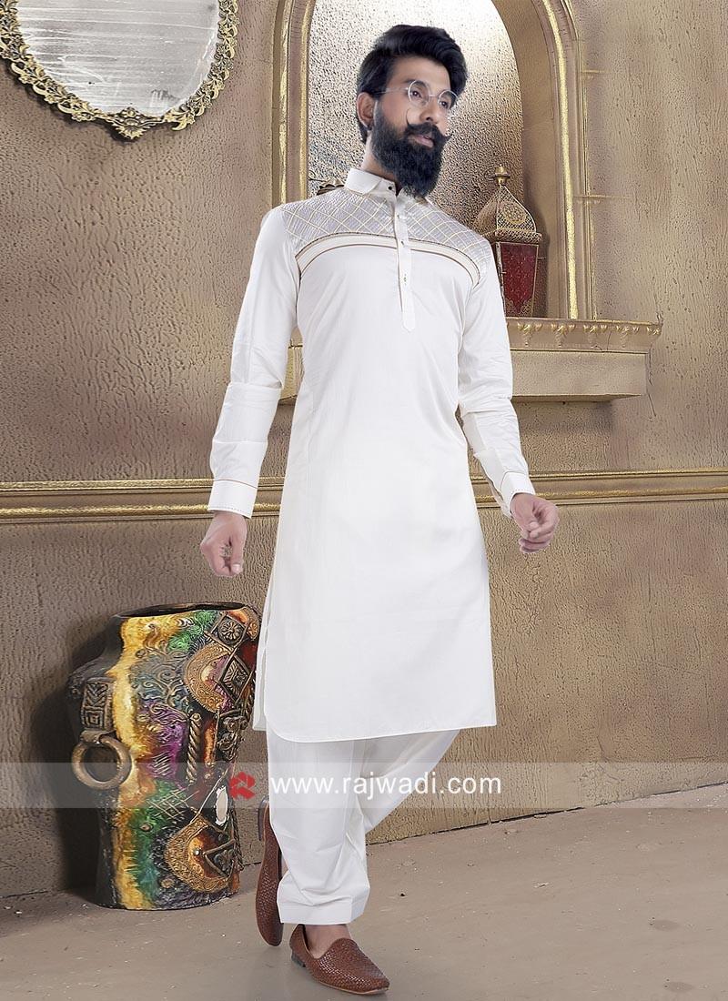 Adorable Cotton Silk fabric Pathani Suit