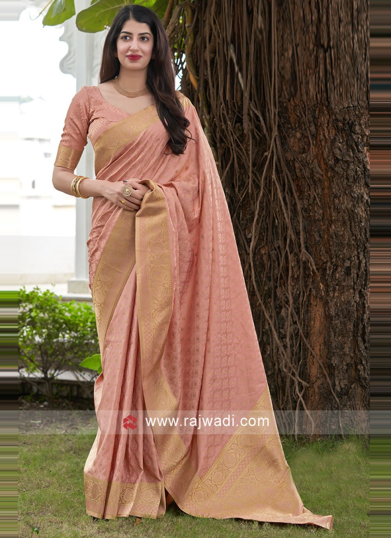 Adorable Pink Satin Silk Traditional Saree