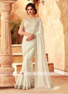 Adorable White Chiffion Saree