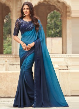 Aesthetic Embroidered Blue Shaded Saree