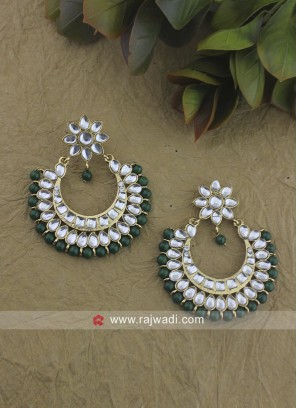 Alloy Chandbali Earrings with Green Pearl