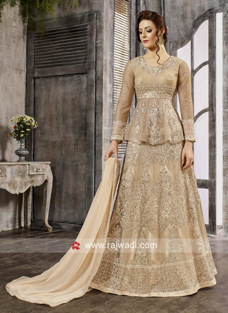 Semi Stitched Golden Cream Salwar Kameez