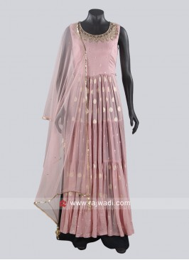Floor Length Pink Anarkali Suit