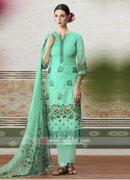 Alluring Cotton Satin Print Churidar Suit