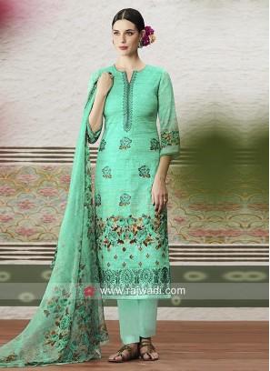 Alluring Cotton Satin Print Churidar Suit