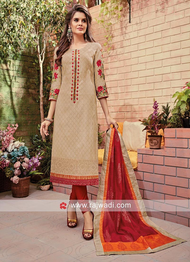 Alluring Cotton Silk Embroidery Churidar Suits