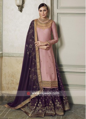 Light Pink and purple salwar kameez.