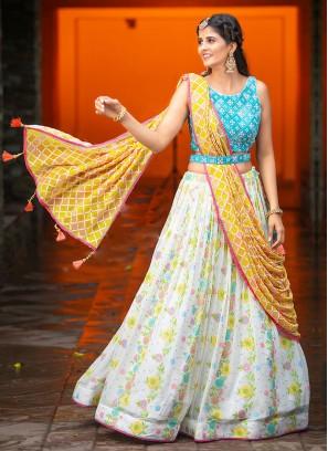 Alluring Wedding Wear Bright White Lehenga With Contrast Dupatta