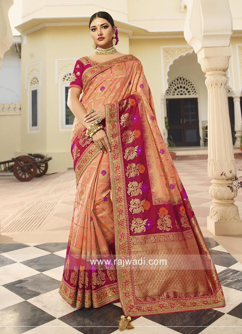 Peach and Rani Banarasi Silk Saree