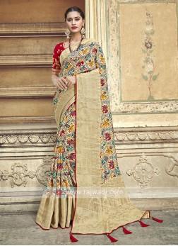 Amazing Beige Color Traditional Saree