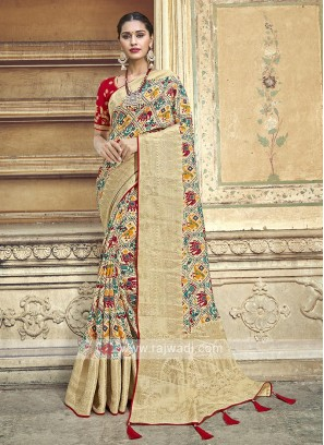 Amazing Beige Color Traditional Saree