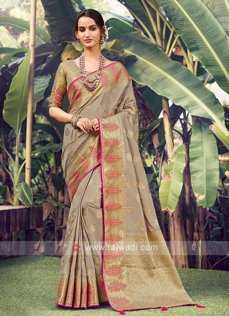 Amazing Beige Color Weaving Work Saree