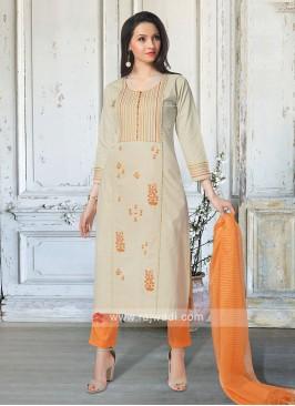 Amazing Beige & Orange Salwar Suit