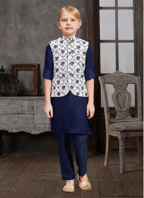 Amazing Navy Blue And White Nehru Jacket