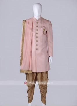 amazing emboss silk pink sherwani