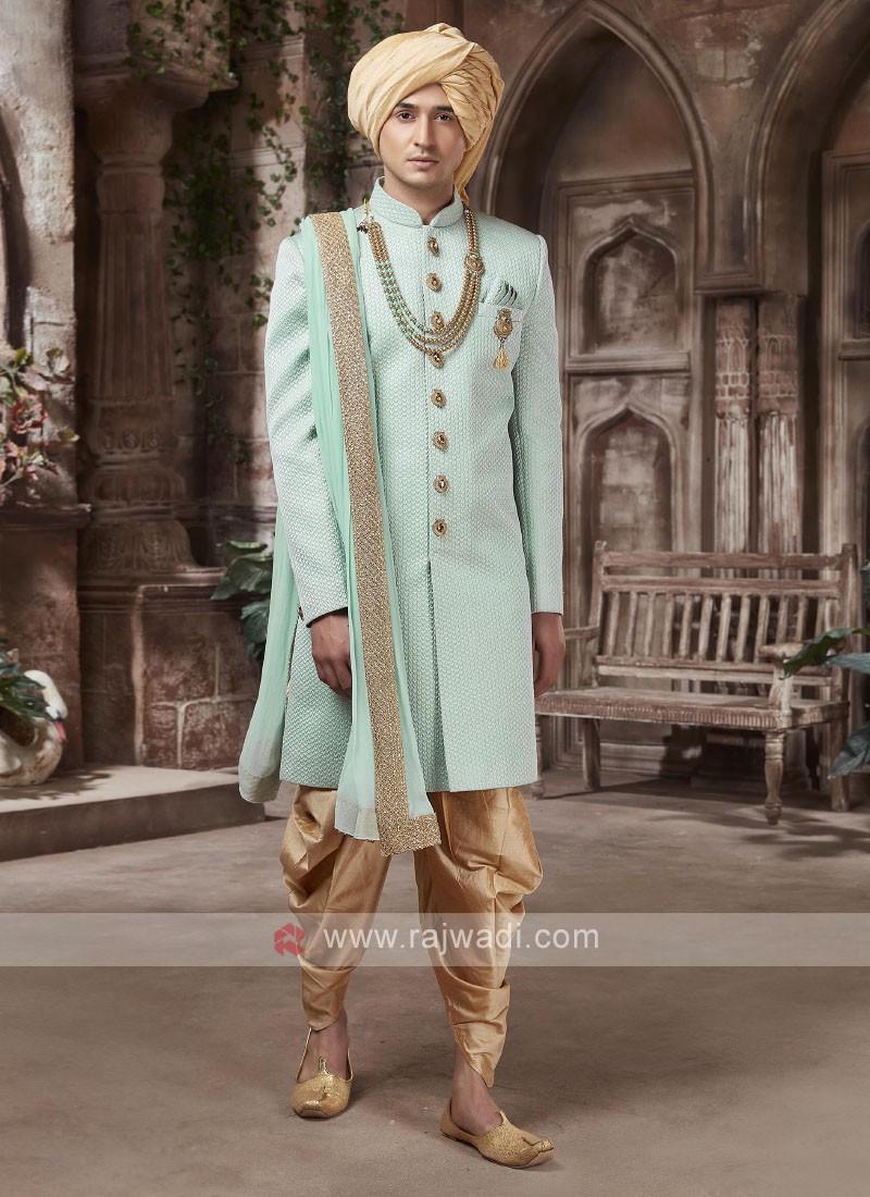 amazing emboss silk sherwani