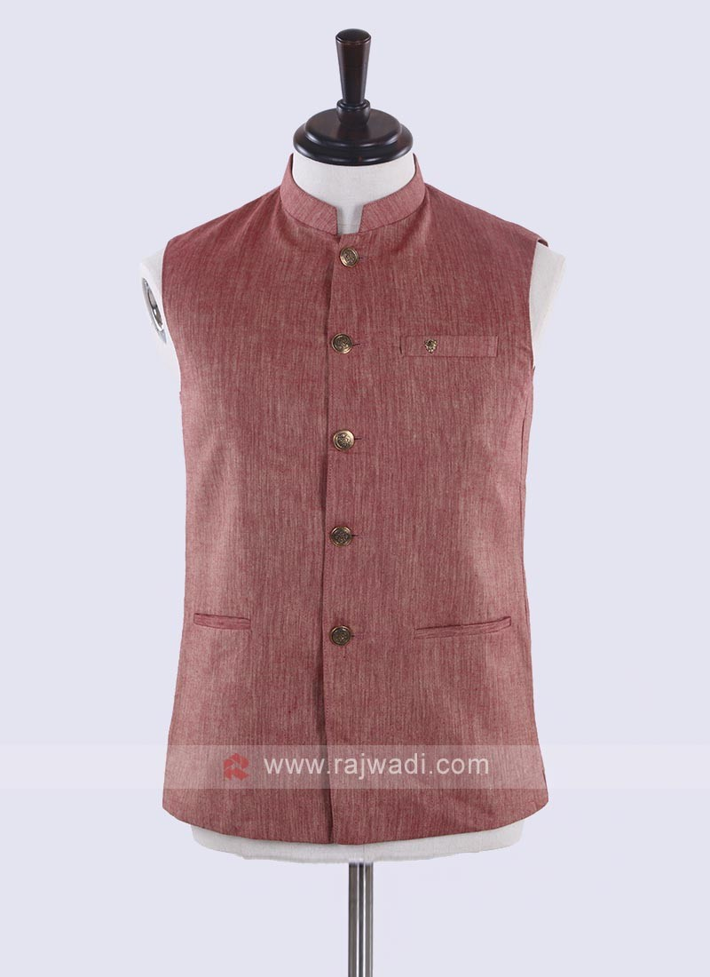 amazing gajari pink cotton silk nehru jacket