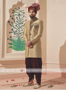 Amazing golden and maroon sherwani