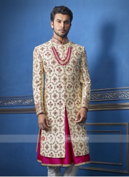 Amazing golden and rani sherwani