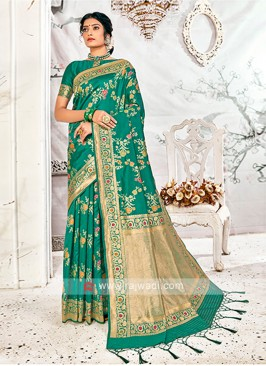 Amazing Green Banarasi Silk Saree