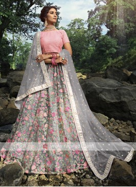 Amazing Grey And Pink Color Lehenga Choli
