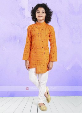 Orange & White Kurta Pajama For Boys