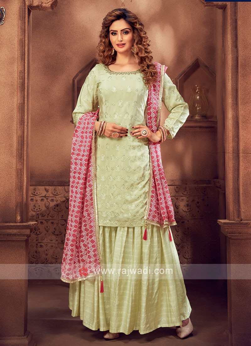 Amazing Light Green Color Gharara Suit
