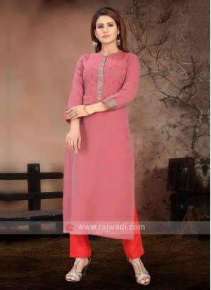 Amazing Light Pink & Red Kurta Set