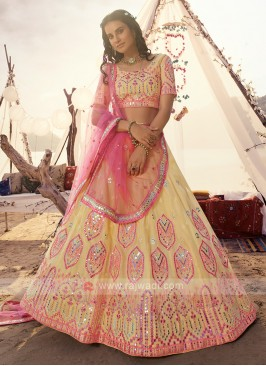 Amazing Light Yellow & Pink Lehenga Choli